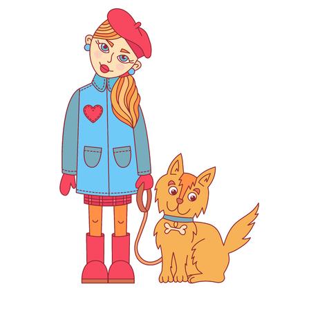 Cute girl with little dog vector illustration Ilustração