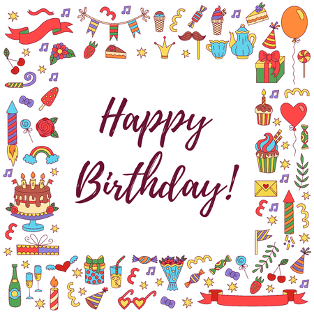 Birthday party doodle square border greeting card template royalty birthday party doodle square border greeting card template stock vector 94149302 maxwellsz