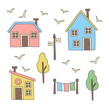 Nordic scandinavian style houses village buildings vector set