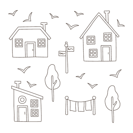 Thin line simple village houses buildings set