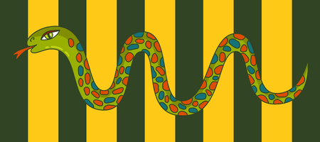 Snake colorful animal character vector illustration.