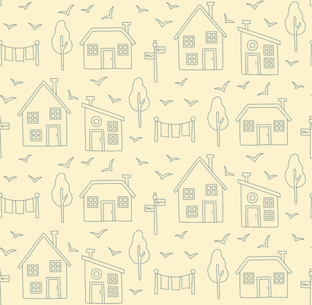 Village houses line Scandinavian style seamless vector pattern.