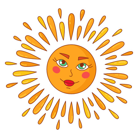 Sun with face doodle colorful cute vector illustration