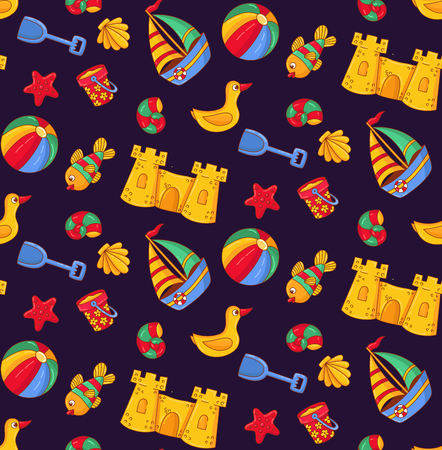 Summer beach vacations sweeming colorful seamless vector pattern