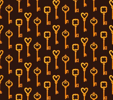Golden antique keys colorful seamless vector pattern.
