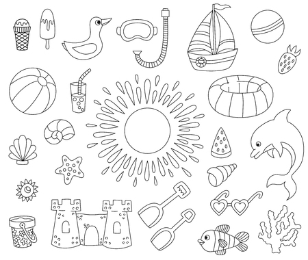 Summer icons line cartoon doodle vector set