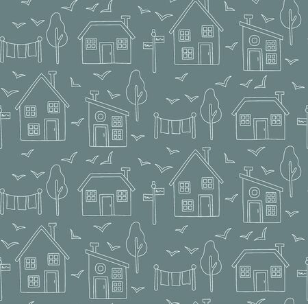 Village nordic style line doodle simple seamless vector pattern Stock Vector - 95610944