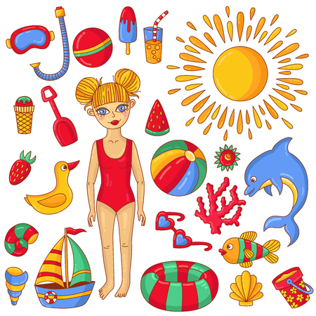 Summer beach doodle icons and child girl. Character colorful cute vector set collection.