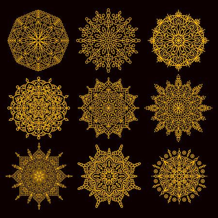 Doodle asian mandala vector set 9 different ornamental collection