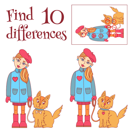 Find 10 differences girl with a dog cartoon cute characters vector illustration