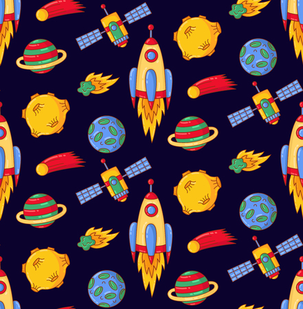 Outer space cosmos rocket planets satellite asteroid colorful doodle seamless vector pattern Illustration