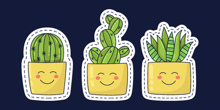 Cactus succulent cute doodle icons with smiles plants in pot colorful adorable cartoon vector set Ilustrace
