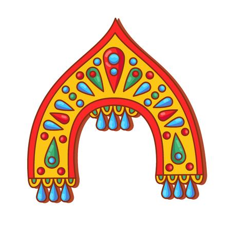 Russian kokoshnik  traditinal hat doodle colorful cartoon vector illustration