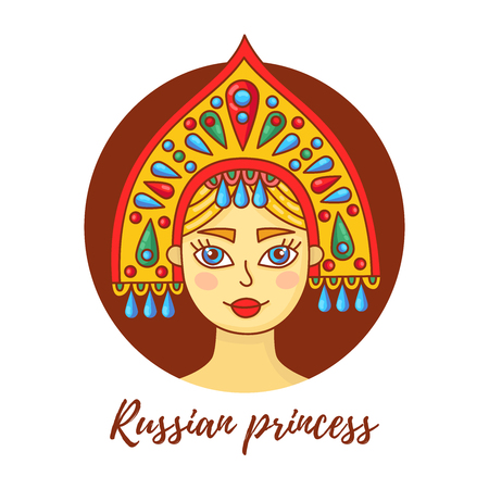 Girl woman in russian kokoshnik cute colorful cartoon portret avatar vector illustration