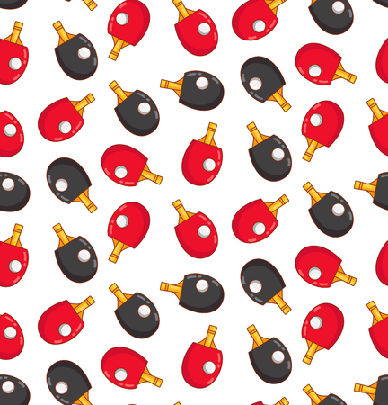 Table tennis rockets colorful cute seamless vector pattern
