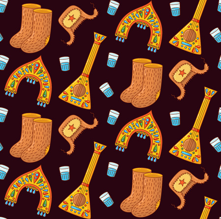 Russian traditional symbols doodle colorful seamless vector pattern