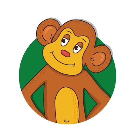 Monkey animal colorful vector illustration doodle portrait