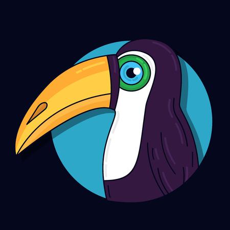 Toucan bird colorful cute portrait vector illustration Çizim