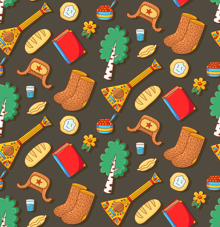 Russian symbols cute doodle icons colorful seamless vector pattern
