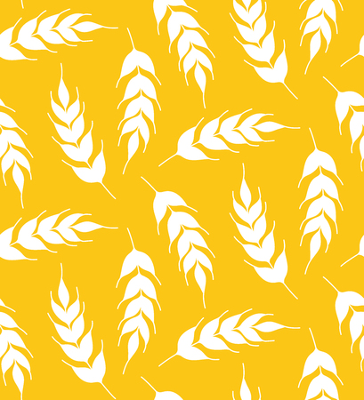 A rye corn floral natural simple silhouette yellow background seamless vector pattern