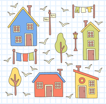 Nordic village houses and trees line colorful vector set. Illustration