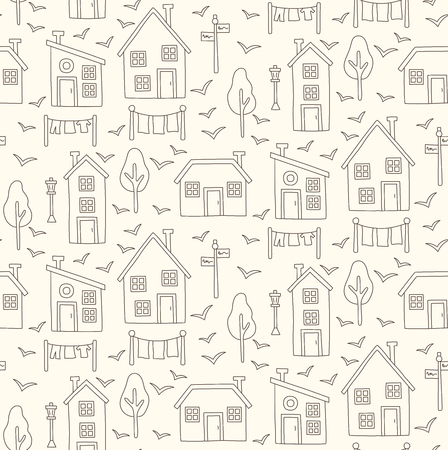 Line simple houses village Nordic north seamless vector pattern.