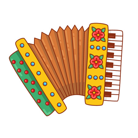 Accordion russian bayan musical instrument doodle colorful cartoon vector illustration