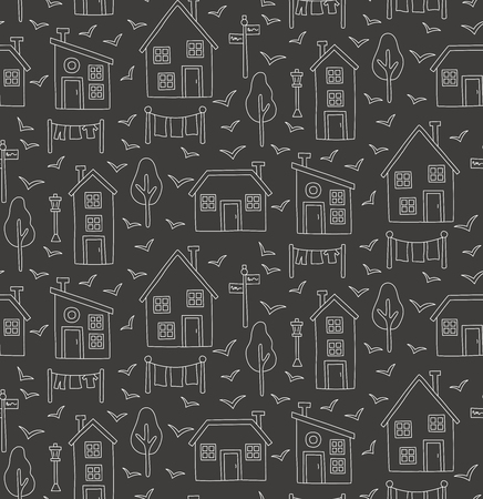 Line village houses scandinavian style simple seamless doodle black and white vector pattern