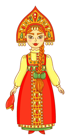 Female in traditional russian clothes icon 일러스트