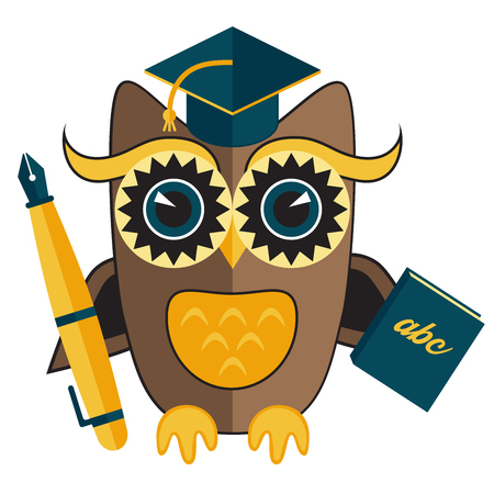 Owl teacher character with pen and book design