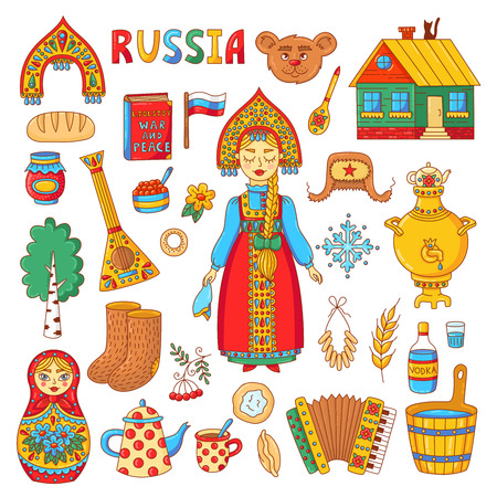 Russian traditional symbols doodle colrful icons with matreshka, samovar, balalaika, ushanka and russian girl vector set Ilustração