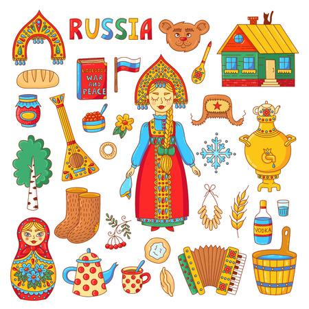 Russische traditionelle Symbole kritzeln bunte Ikonen mit Matreshka, Samowar, Balalaika, Uschanka und russischem Mädchenvektorsatz