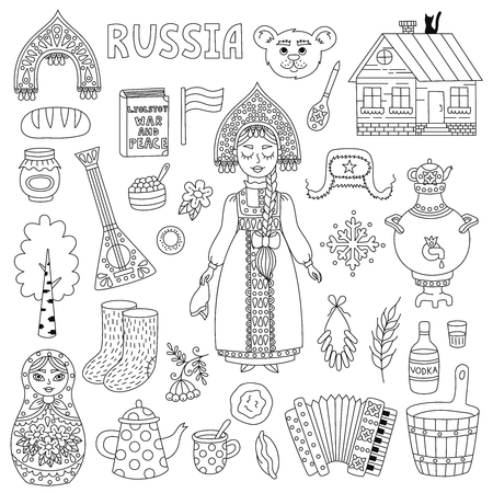 Russia doodle icons traditional symbols line vector set with russian girl,russian doll and other