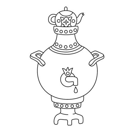 Samovar traditional russian tea toll doodle line vector icon Illustration