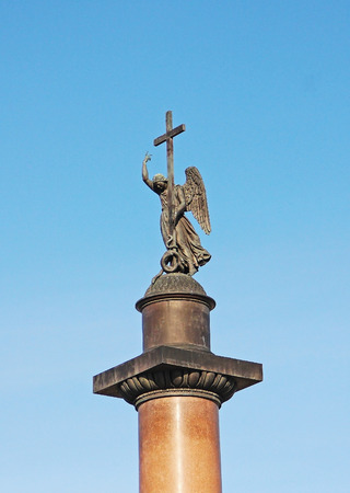 Angel statue  on the top of Alexandr Column on Palace Square St. Petersburg, Old historical monument established in 1834 - Russia - May 2018 Redakční