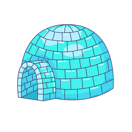 igloo ice house north home doodle colorful vector illustration