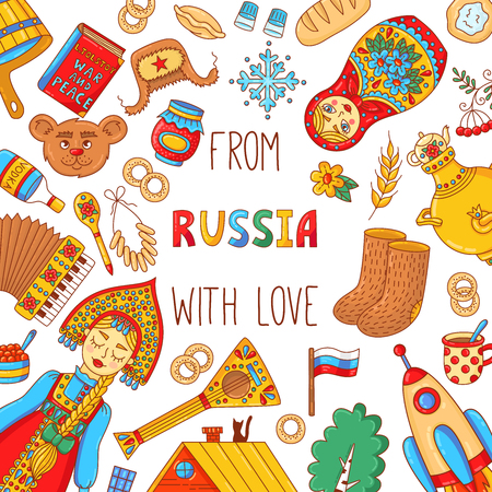 Russia travel doodle colorful cute  icons banner template Stok Fotoğraf - 102630366