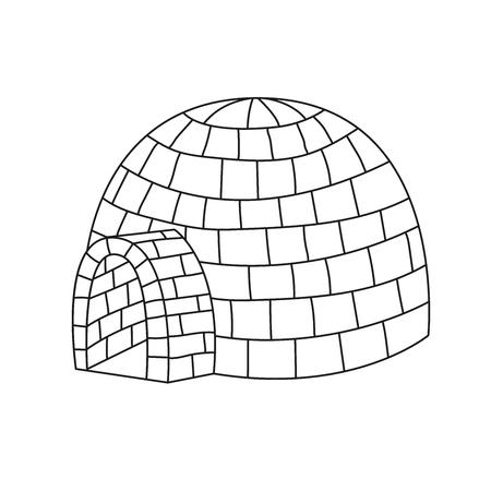 Iglo ijs huis doodle lijn vectorillustratie