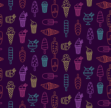 Ice cream sweets food colorful line doodle seamless  pattern
