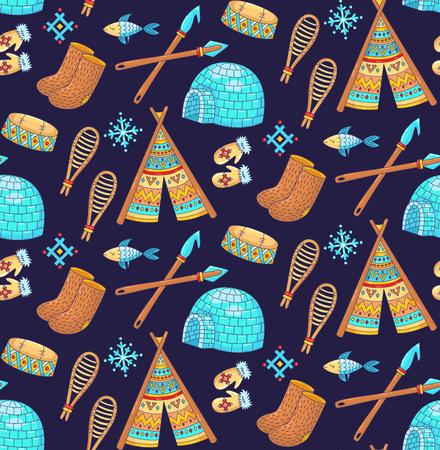 Eskimo alaska north pole symbols cute colorful doodle seamless vector pattern Illustration