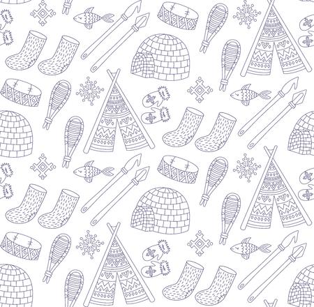 Eskimo alaska north doodle line symbols seamless vector pattern