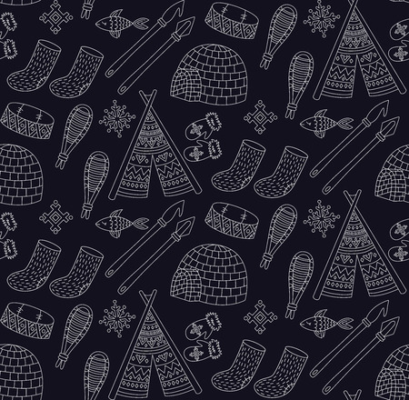 Eskimo snow north culture doodles icons symbols seamless vector pattern