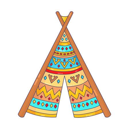 teepee wigwam house doodle vector icon Illustration