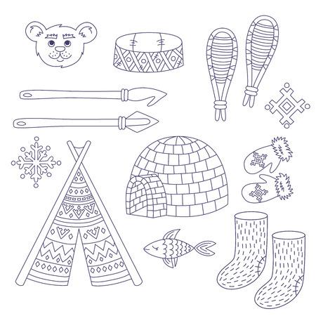 Arctic alaska eskimo north people traditional symbols line doodle vector set