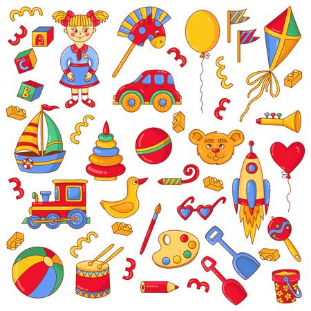 Toys childish colorful doodle line icons vector set Illusztráció
