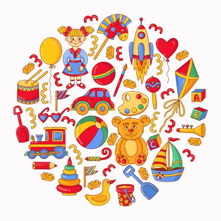 Children toys cartoon colorful round vetor icons set