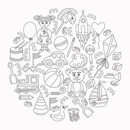 Toys line doodle icons vector set collection in circle Illusztráció
