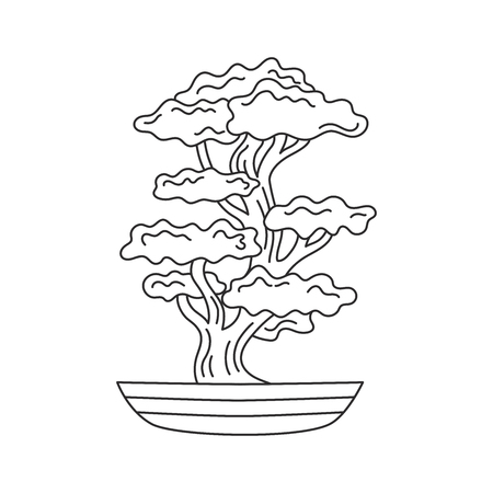 Bonsai japanese tree line icon