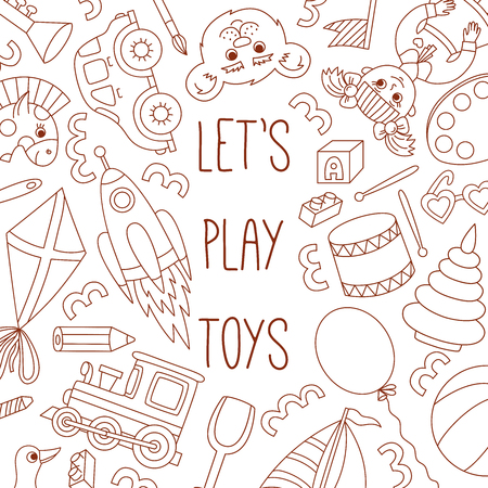 Children toys doodle line collection vector set Illusztráció
