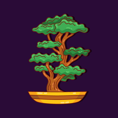 Bonsai tree colorful doodle vector icon